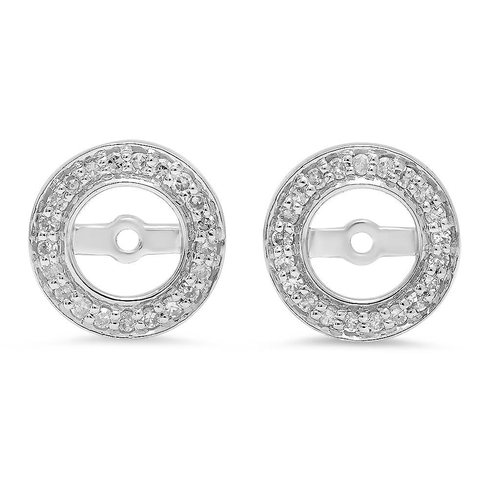 Dazzlingrock Collection 0.20 Carat (ctw) 10K Round White Diamond Removable Jackets For Stud Earrings 1/5 CT, White Gold