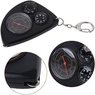 tiyee Keychain Portable extérieur Multifunctio Odomètre Télémètre Boussole Thermomètre pour la randonnée, Le Camping, Automobile, Le Bateau, Voyages à l'étranger Voyages à l'étranger