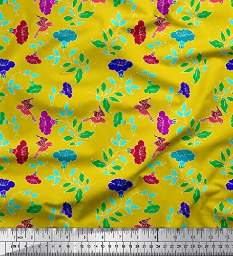 Yellow Cotton Duck - Soimoi Yellow Cotton Duck Fabric Leaves,Bird & Floral Artistic Print Fabric by Yard 56 Inch Wide