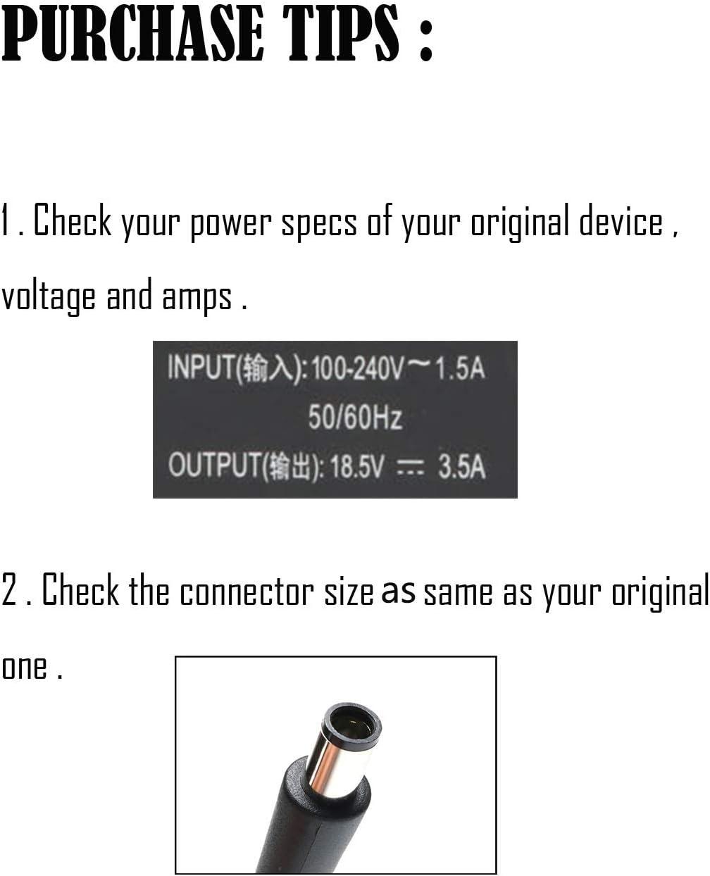 Ac Laptop Adapter Charger for HP 2000-2B09WM 2000-2A20NR Pavilion DV4 DM4 DV5 DV6 DV7 G60 18.5V 3.5A 65w