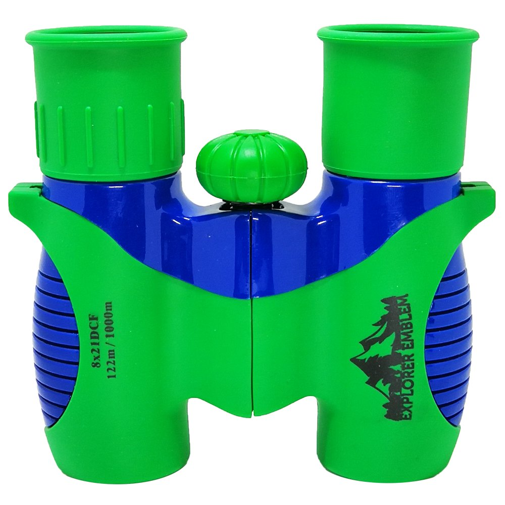 Explorer Emblem Binoculars for Kids - Small Compact and Lightweight 8x21 Binocular Set For Birding with Little Boys and Girls - Mini Folding Toy with Strap - Safe Shockproof Bird Watching Toys in Blue