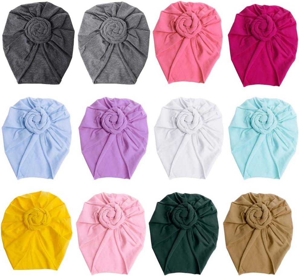 Youlin Cotton Baby Turban Hats Girl Boy Newborn Hat Indian Headscarf Soft Headband Accessories White
