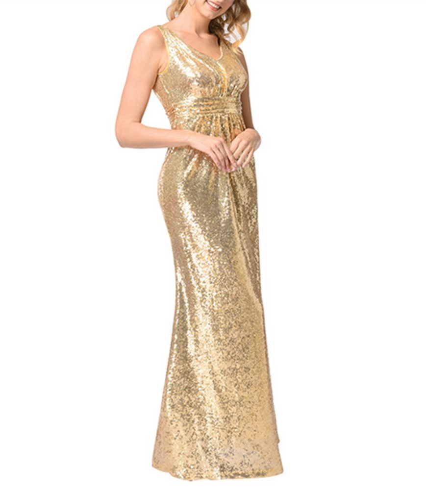 Santwo Women's Sequined Long Bridesmaid Dresses Formal Wedding Party Evening Prom Gown (B, XXL)