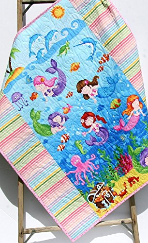 Mermaid Baby Quilt Homemade Blanket Girl Nautical Ocean Sea Life Octopus Fish Dolphins Crib Bedding Nursery Décor Infant Child Quality Handmade by Kristin Blandford Designs