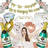 Bachelorette Party Decorations, Bridal Shower Decorations, Champagne Balloon, Bridal Party Balloons, Bachelorette Party Supplies Kit Bride to Be SASH, VEIL, Diamond Ring, Gold BANNER Pop the Champagne