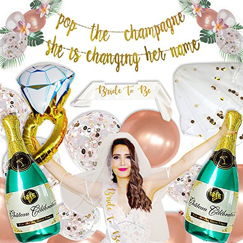 Bachelorette Party Decorations - Rose Gold Bridal Shower Supplies | Bride to Be Sash and Veil, Gold Glitter Banner | Champagne + Ring Foil Balloon | Rose Gold Balloons | Pop The Champagne Kit