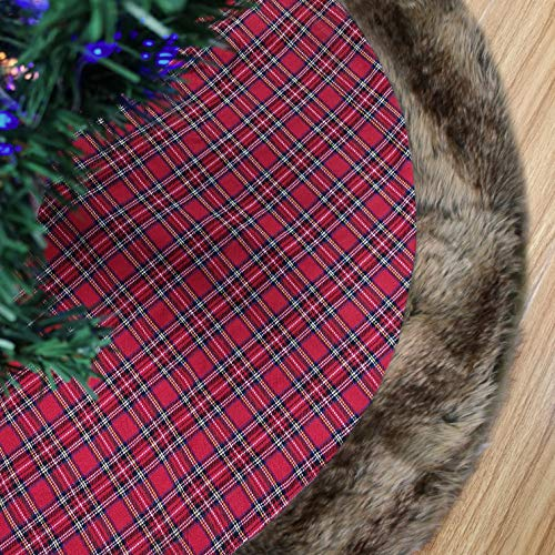 - WEWILL 48'' Thick Red Buffalo Plaid Christmas Tree Skirt with Faux Fur Trim Double Layers Holiday Decorations Xmas Tree Skirt Themed with Christmas Stockings(Not Included)