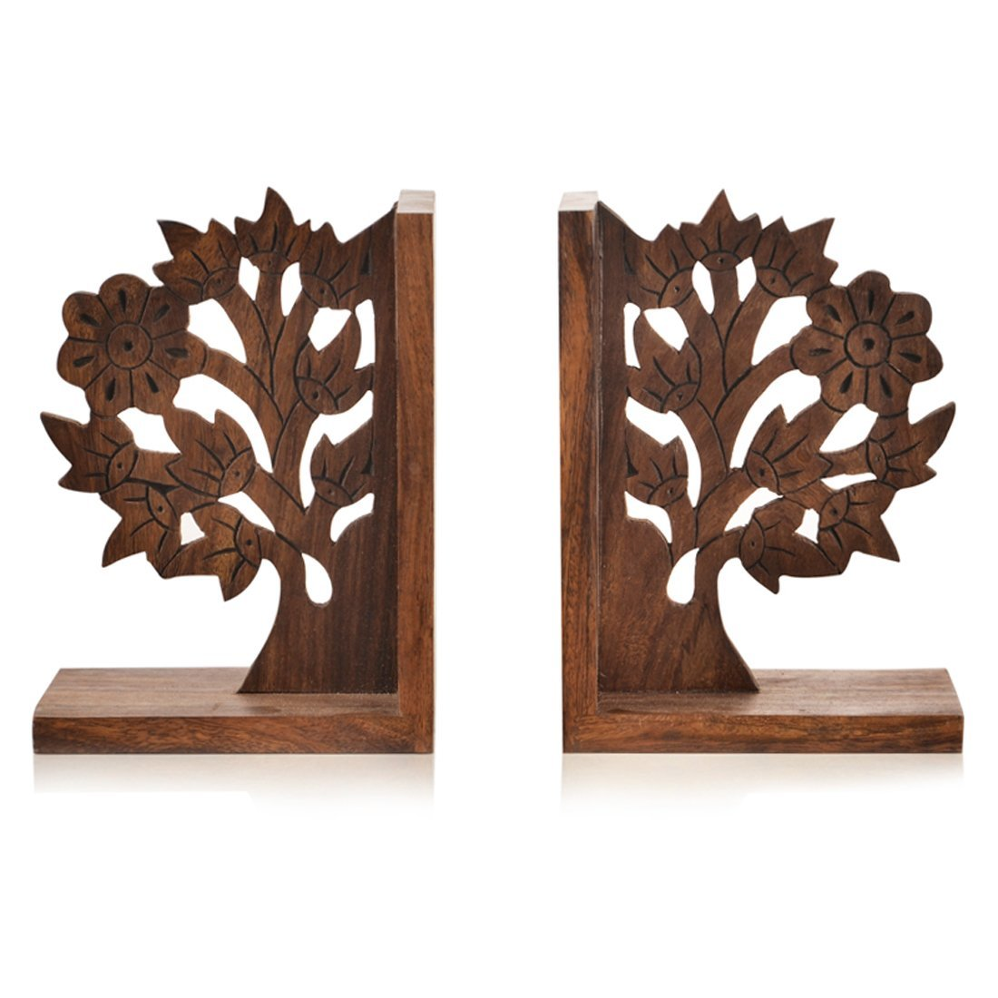 ExclusiveLane Wooden Tree Life Book End in Sheesham Wood (Handmade in India) -Book Organizer Book Holder Book Ends for Shelves Decorative Bookends for Kids Handmade bookend Heavy Book Ends for Office