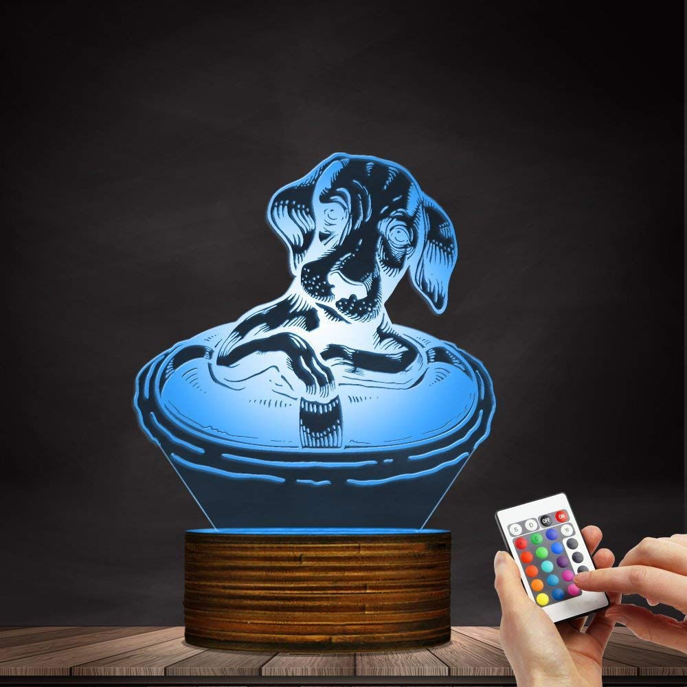 Novelty Lamp, Dachshund Dog with A Life Buoy 3D Night Light, Creative Table Lamp LED Illuminated Display with Remote Contolled Pet Lovers Gift Idea,Ambient Light by LIX-XYD (Image #7)