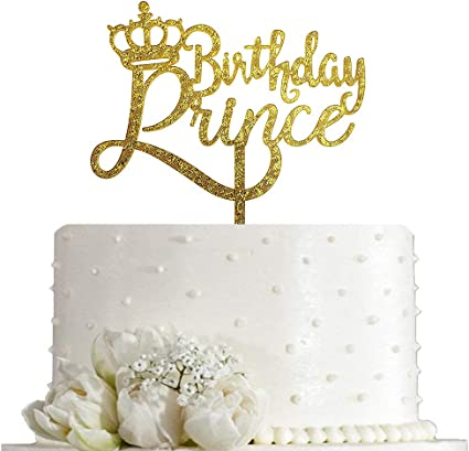 A Little Prince W Crown Acrylic Cake Topper GOLD Mirror For Boy Baby Shower Birt