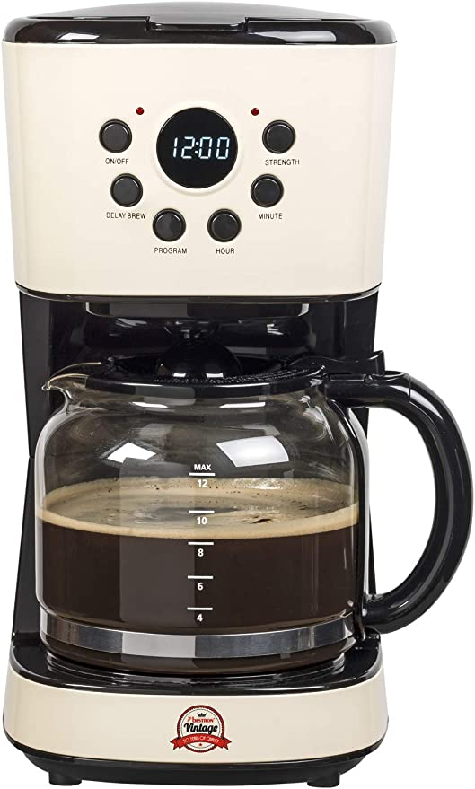 Bestron Cafetera con Diseño Vintage, Temporizador Programable, 12 Tazas, 900 W, 1.5 litros, Crema/Negro: Amazon.es: Hogar