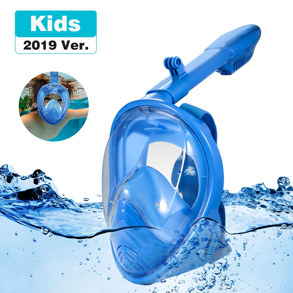 RayCue Full Face Snorkel Mask for Kids, 180° Panoramic View Shallow Dive Mask with Detachable Camera Mount, Free Breath Anti-Fog Anti-Leak Dry Top System by RayCue