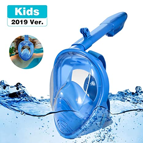 180/°Seaview Anti-Fog Anti-Leak Easybreath with Removable Action Camera Mount Snorkel Tube for Kids Youth Children Kids Diving Mask Full Face Snorkel Masks