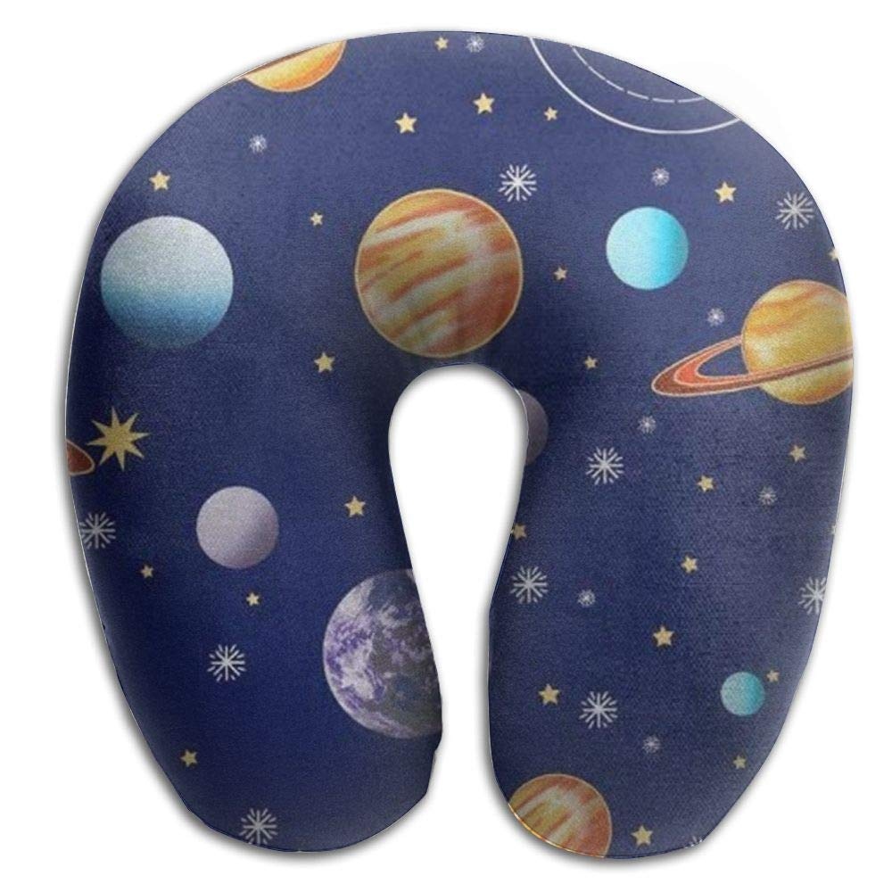 CRSJBB219 Navy Planets Solar System Travel Pillow,Neck Pillow, Airplane Pillow,Travel Neck Pillow-Supports The Head,Neck and Chin,U-Shaped Pillow