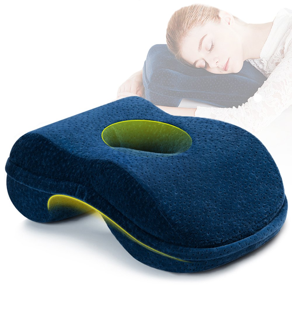 WER Nap Sleeping Pillow Cushion AF8 Bamboo Charcoal Memory Foam Pillow Slow Rebound Desk Nap Pillow with Hollow Design Ideal for Face Down Sleeper Back Support, Removable Washable Velvet Cover