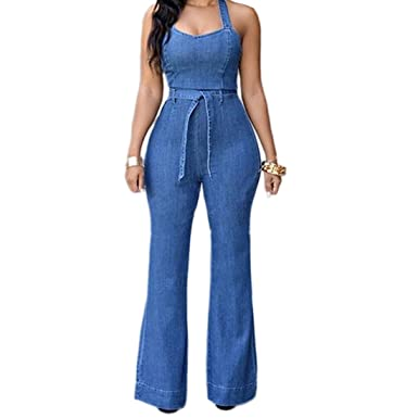 be3240ab9d37 Image Unavailable. Image not available for. Color  YYF Women s Halter Denim  Jumpsuit Backless Wide Leg Pants Full Length Romper with Belt