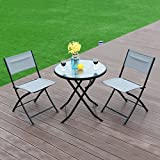 MD Group Patio Table Chairs Set Folding Design Durable Iron Frame Blue Fabric Seat Outdoor Dining Furniture