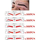 50Pcs Different Shapes Microblading Ruler Sticker Eyebrow Shaping Stencils Microblading Supplies Disposable Adhesive Eyebrow Template Permanent Makeup Measure Tool(5 Shapes)