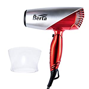 1875W Professional Compact Hair Dryer, Berta Dual Voltage Travel Dryer,Light Weight Low Noise DC Motor Blow Hair Dryers with Folding Handle