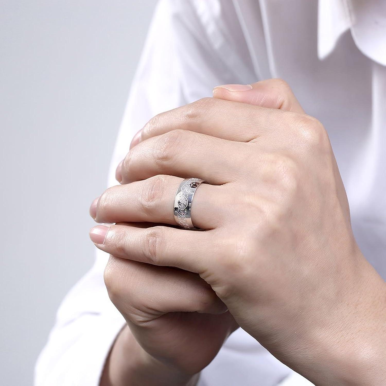 Men\'s Titanium Steel Engraved Ring Floral Simple Design Wedding Band ...