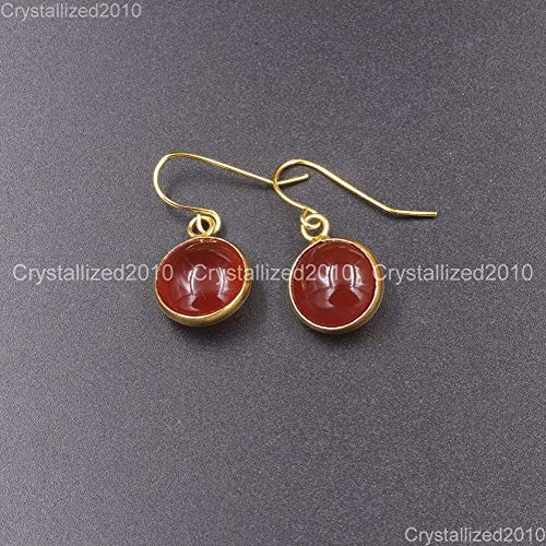 FidgetGear Natural Gemstone Round Candy Healing Chakra Pendant 18k Plated Earrings Red Agate 1 ()