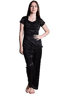 d2c002f748 Senslife Soft   Smooth Satin Solid Nightwear Short Sleeve Night Suit Top   Pajama  Set SL009