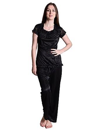 29f53f3ba8 ... Senslife Soft Smooth Satin Solid Nightwear Short Sleeve Night Suit Top  Pajama Set SL009 size 40  Women Pajamas Sexy ...