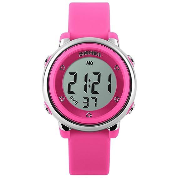 Panegy - Reloj Digital con LED de Colorido para Niños y Estudiantes-Color Rosado: Amazon.es: Relojes