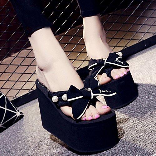 Été Tongs Plus Chaussons Chaussons épaisses Casual pour Pantoufles Tongs Et Sandales Flop Sandales Sandalettes Femmes Black 12cm Talon Mode Chaussons Flip XxSrFwXqI