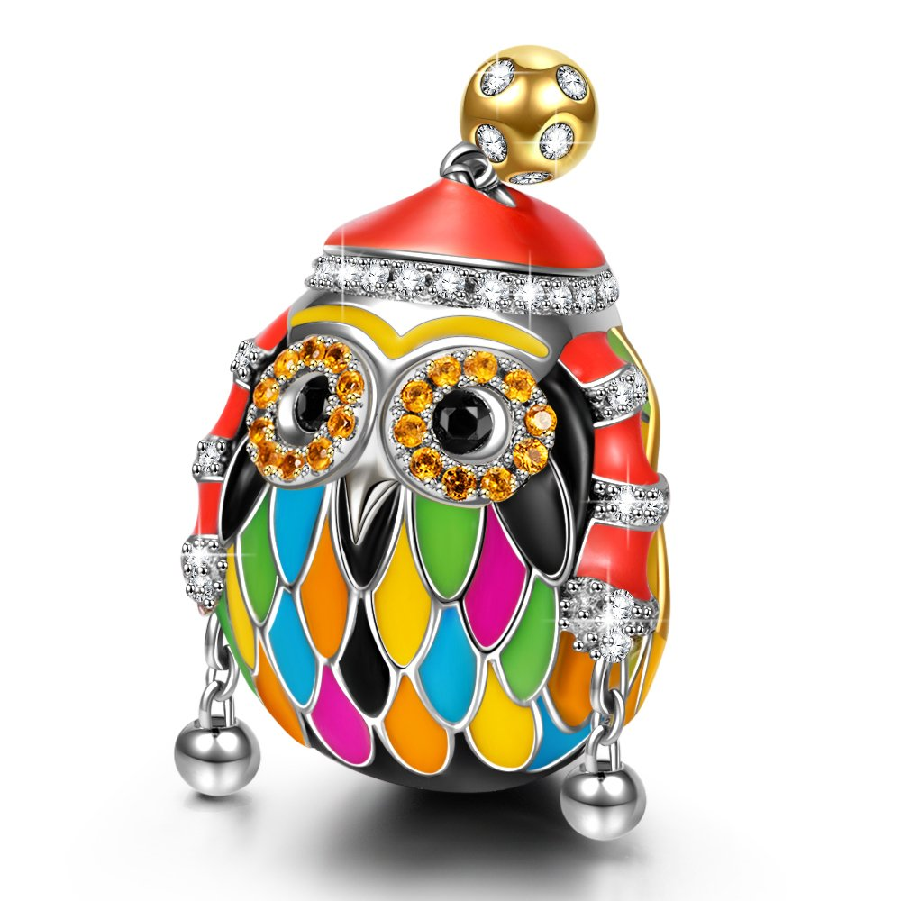 NINAQUEEN Skiing Owl 925 Sterling Silver Multicolor Enamel Happy Family Animal Charms for Pandöra Bracelets Necklace Birthday Anniversary For Women Wife Her Teen Girls Daughter