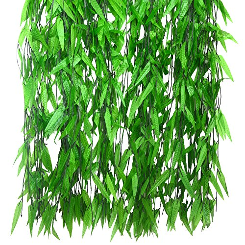 Bird Fiy 50 PCS 376 Feet Artificial Flower Greenery Wicker Rattan Vine Fake Foliage Leaf Flowers Plants Garland Garden Decoration]()