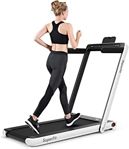 GYMAX 2 in 1 Under Desk Treadmill, 2.25HP Folding Walking Jogging Machine with Dual Display, Bluetooth Speaker & Remote Controller, Electric Motorized Treadmill for Home/Gym