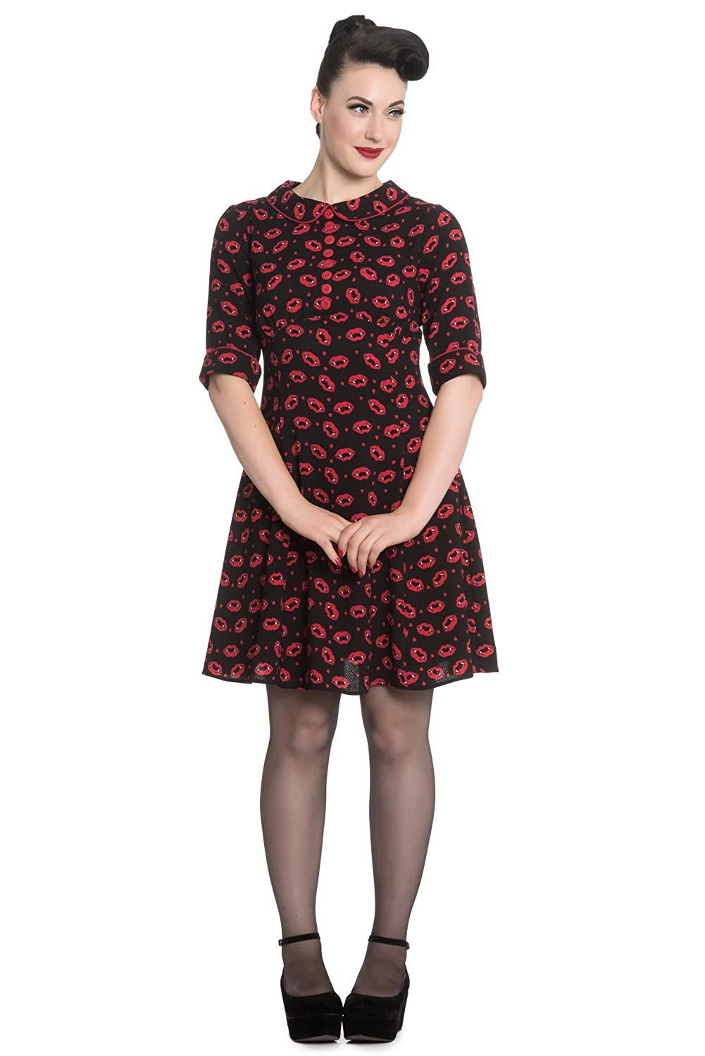 1960s Style Dresses- Retro Inspired Fashion 60s Hell Bunny Kiss Me Deadly Emo Punk 60s Dress $63.49 AT vintagedancer.com