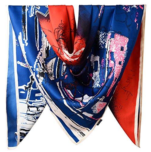 100% Silk Female Twill Square Scarf 40 Inches / Dark Midnight Blue and Vermilion The Scenery by The Lake - Dark Vermilion
