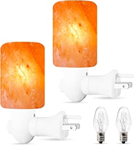 NEXTGRADE 100% Authentic 2 Pack Himalayan Salt Lamp Night Light - Hand Carved Natural Pink Crystal Rock Salt from The Himalayas, ETL Listed 360 Rotatable Wall Plug, Mood Relaxing Decor; 2 Extra Bulbs