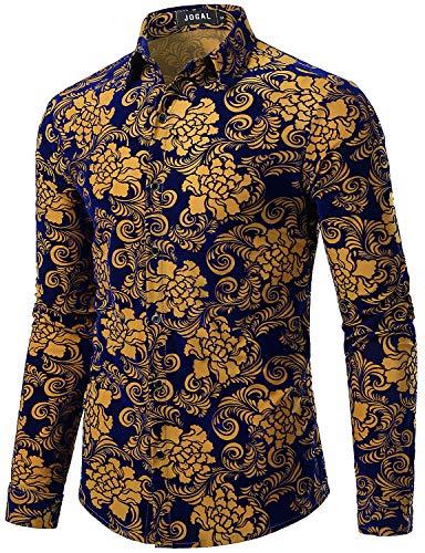 JOGAL Men's Floral Vintage Velvet Slim Fit Long Sleeve Casual Button Down Shirt Medium A349 Khaki Rose ()