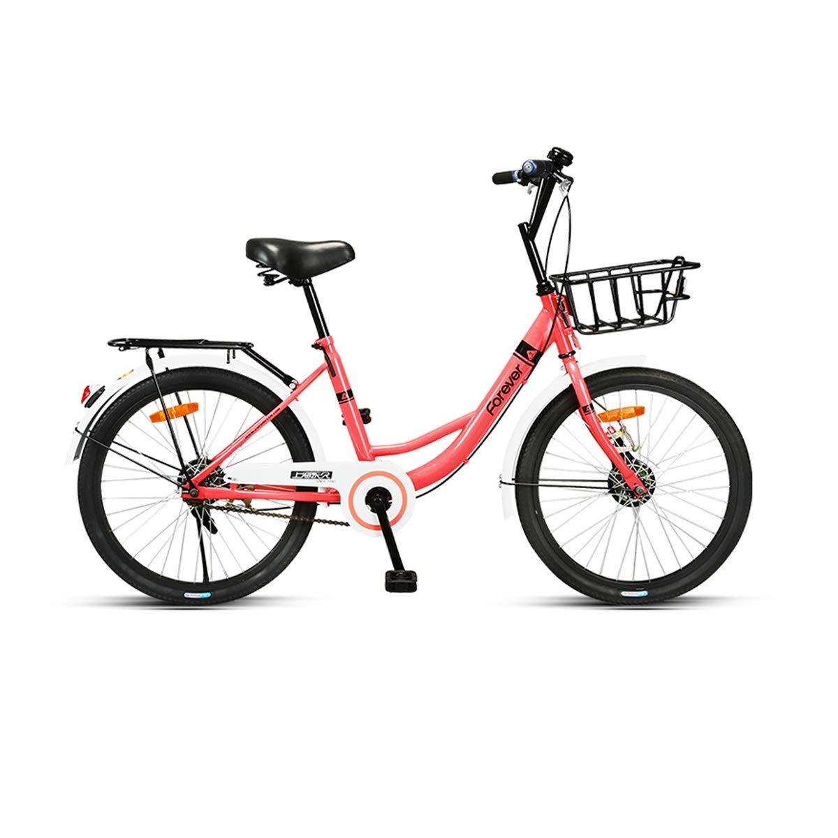 22インチソリッドタイヤ自転車、インフレータブル、アンチネクタイ、成人学生用自転車、軽量レディ普通通勤 (Color : Pink, Size : 22 inch) 22 inch Pink B07QPJH7GX