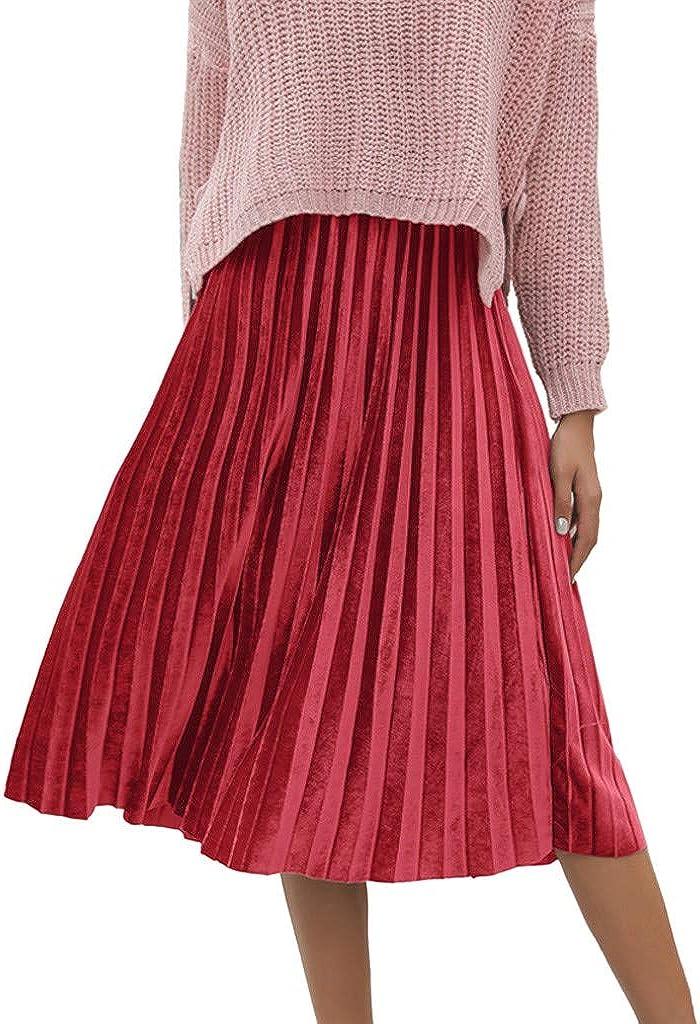 Rcool Falda Corta Faldas Faldas Mujer Invierno Faldas largas Falda Flamenca Mujer, Falda sólida Falda Plisada Informal de Cintura Alta: Amazon.es: Ropa y accesorios