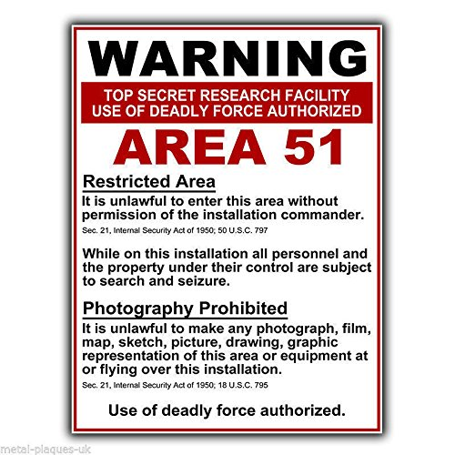 PotteLove Area 51 señal de Advertencia de Metal Placa de ...