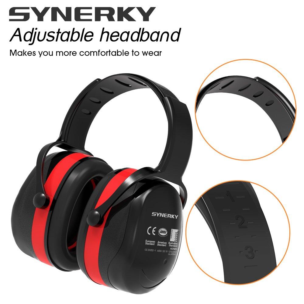 Orejeras Protección Plegables, Synerky protección Protector Auditiva Casco Antiruido Reducción de Ruido de ruido profesional orejeras 34dB SNR protección de ...