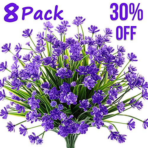 Artificial Fake Flowers,8 Bundles Outdoor Summer UV Resistant Greenery Shrubs Plants for Indoor Home Table Kitchen Hanging Planter Garden Wedding Decoration Independence Day Décor (Purple)]()