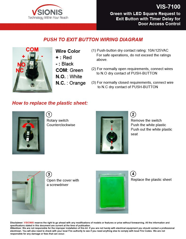 Amazon Com Visionis Vis 7100 Green With Led Square Request To Exit