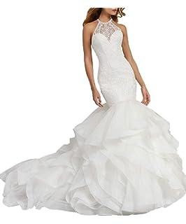 faee8883a58 Wanshaqin Women s Mermaid Organza Ruffles Wedding Dresses Sweetheart  Strapless Bride Dress Ball Gown for Brides