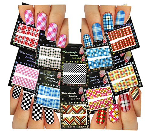 Nail Art Water Slide Tattoo Decals ♥ Full-Cover ♥ Plaid