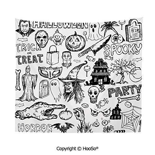 Durable Washable and Reusable Tapestry Wall Hanging Carpet 59x51in,Hand Drawn Halloween Doodle Trick or Treat Knife Party Severed Hand Decorative,Black White Comfy and No Strange Odor Home Decor]()