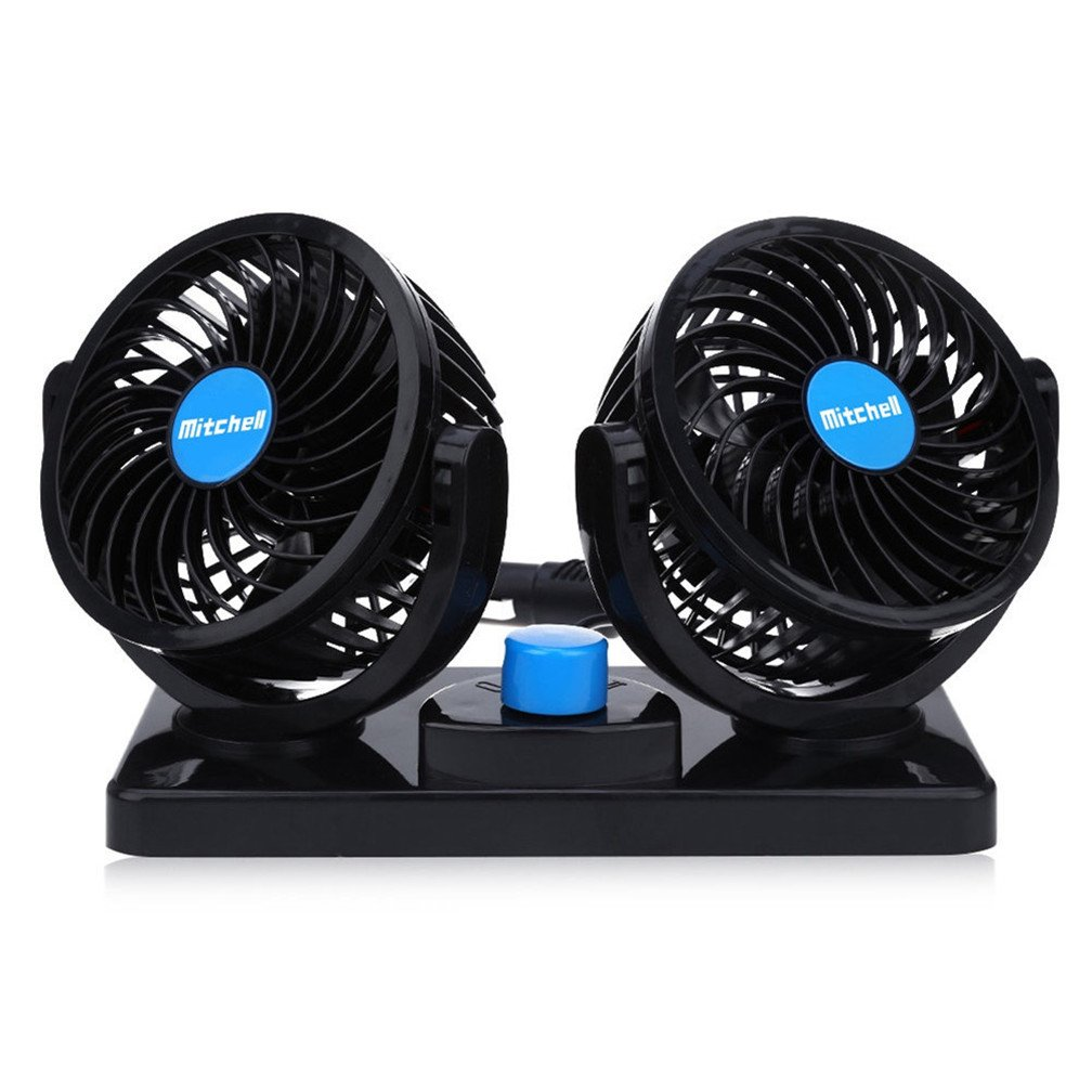 Dual Heads Cooling Fan 12V Car Fan Two Speeds Adjustable Auto Fan 360 Degree Manual Rotation Vehicle Fan for Trucks or Car with Cigarette Lighter Plug In