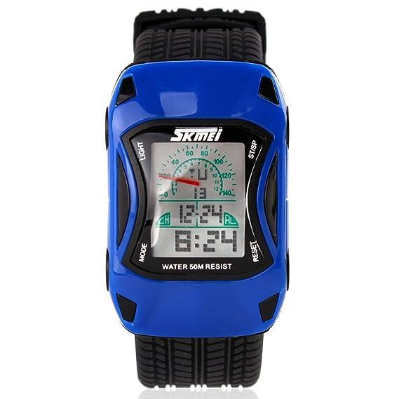 Readeel Kids Relojes Niños Relojes estilo de coche LED reloj Digital Dibujos Animados Jelly silicona deportes relojes de pulsera para los niños, ...