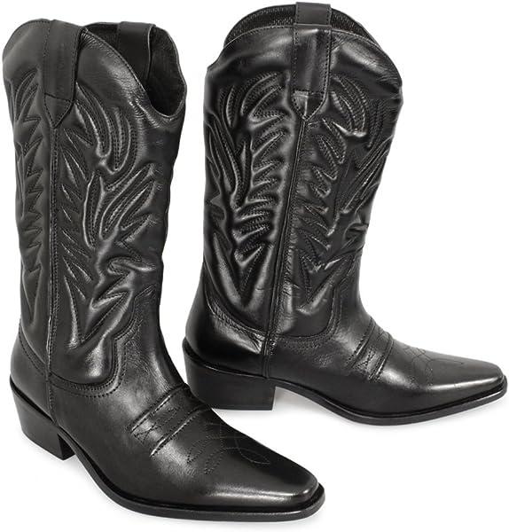 Gringos Mens Kansas Western Cowboy Boots 8 UK Black