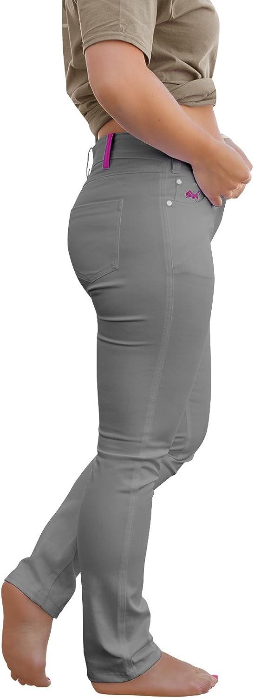 strongAnt® - Elasticos Pantalones Mujer Venezia YKK, de 5 de Bolsillo de algodón Estilo Jeans 260 gm - Pantalones Business Elegantes Clásicos Pantalones de Camarero Security - Made in EU - Gris