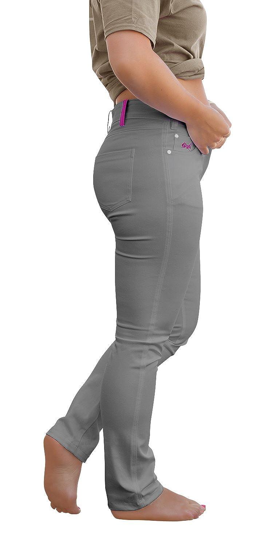 strongAnt Elasticos Pantalones Mujer Venezia YKK, de 5 de Bolsillo de algodón Estilo Jeans 260 gm - Pantalones Business Elegantes Clásicos Pantalones de Camarero Security - Made in EU - Gris